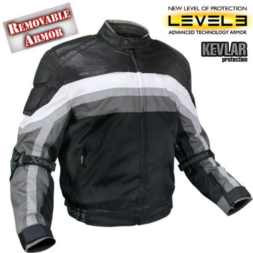 Mens Armored Black and Grey Tri-Tex Fabric and Leather Trim Jacket with Level-3 Advanced Armor and Kevlar Protection